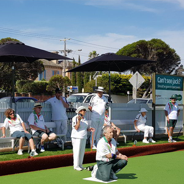 Felton Free Standing Bench Seat with Backrest at Brighton Beach Bowls Club