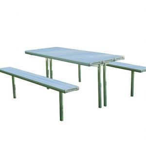Adjustable table and chair in-ground park setting.